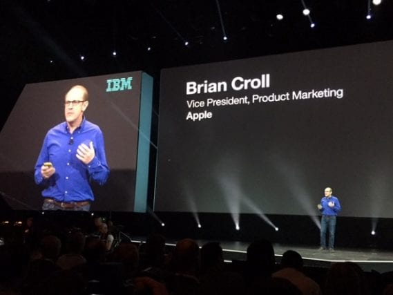 Brain Croll, vice president for product marketing at Apple, takes the stage at the IBM InterConnect 2016 in Las Vegas to discuss his company's collaboration with IBM for the development of the Swift programming language for the enterprise sector