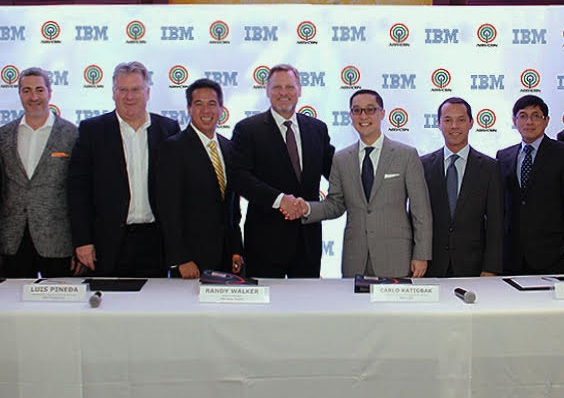 From left to right: Kellar Nevill, managing partner for Asia Pacific Services at IBM Global Business Services; Neil McCormack, general manager for Asia Pacific at IBM Global Business Services; Luis Pineda, president and country general manager of IBM Philippines; Randy Walker, general manager of IBM Asia Pacific; Carlo Katigbak, president and chief executive officer of ABS-CBN; Mark Lopez, chief technology officer of ABS-CBN; Rolando Valdueza, head of corporate services group and group chief financial officer of ABS-CBN