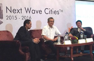 "The ""Next Wave Cities"" list was drawn up the DOST-ICT Office, IBPAP, and Leechiu Property Consultants. Photo shows (from left) IBPAP chief executive Jomari Mercado, ICT Office deputy executive director Monchito Ibrahim, and Leechiu Property Consultants CEO David Leechiu"