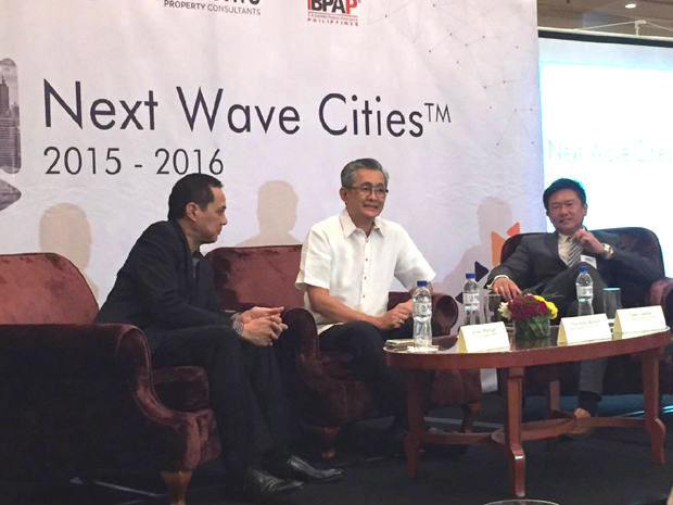 The ?Next Wave Cities? list was drawn up the DOST-ICT Office, IBPAP, and Leechiu Property Consultants. Photo shows (from left) IBPAP chief executive Jomari Mercado, ICT Office deputy executive director Monchito Ibrahim, and Leechiu Property Consultants CEO David Leechiu
