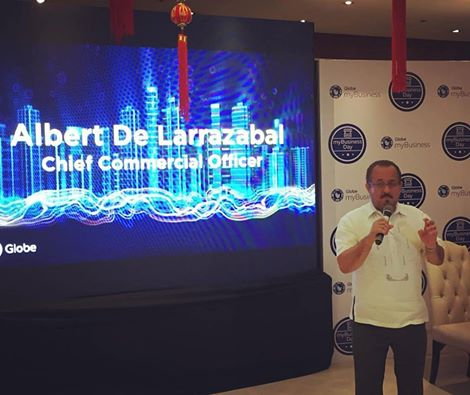 Globe Telecom chief commercial officer Albert de Larrazabal during the press launch at the Lucky Chinatown mall