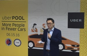 Uber PH general manager Lawrence Cua during the launch of uberPOOL service in 2016
