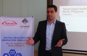 Takeda Healthcare Philippines country manager Gabriel Georgy briefs journalists and bloggers about his company's Digital Healthcare Innovation Challenge (DHIC) startup competition which attracted 21 participants from the Philippines, United States, India, Indonesia, and Malaysia. The winner will receive $10,000 and support