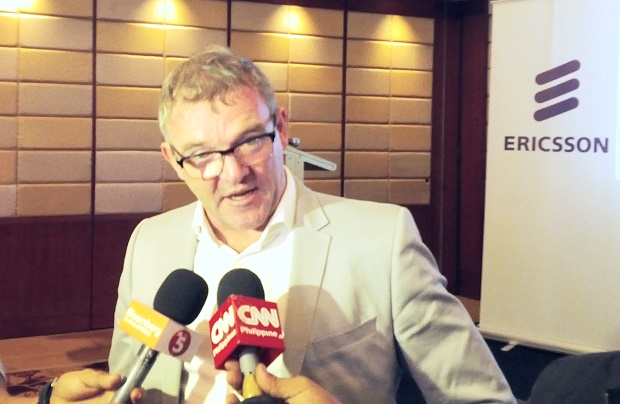 Sean Gowran, president and country manager of Ericsson Philippines and the Pacific Islands, being interviewed by the media during the press briefing