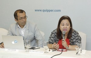 Quipper country manager Yuki Naotori (left) and Makati City assistant schools division superintendent Maria Theresa Namoro discussing the role of Quipper School in improving the scores of students in the National Achievement Test