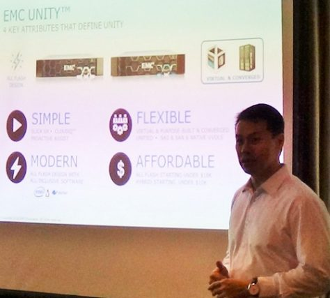 Ronnie Latinazo, EMC Philippines country manager, explains the advantages of the new products
