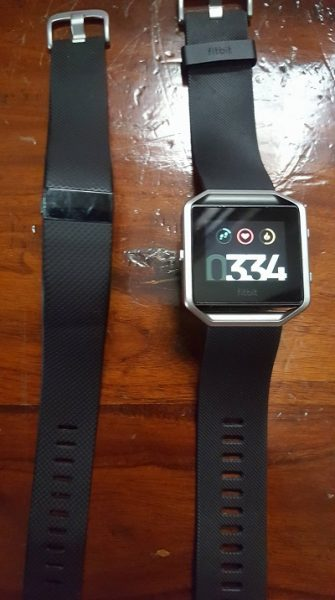 The Fitbit Blaze smart fitness watch with Charge HR tracker band