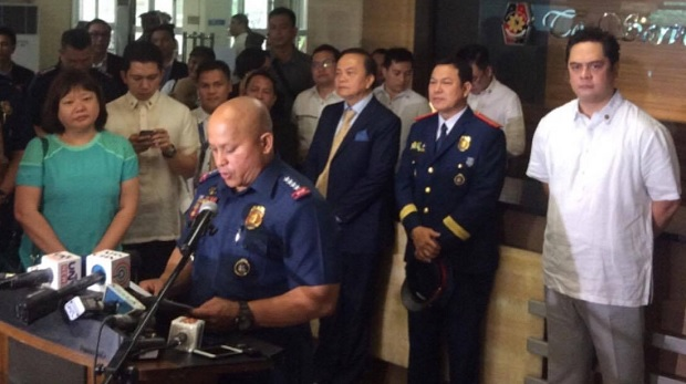 PNP chief Ronald dela Rosa and PCO head Martin Andanar led the launch of the two hotlines in Camp Crame