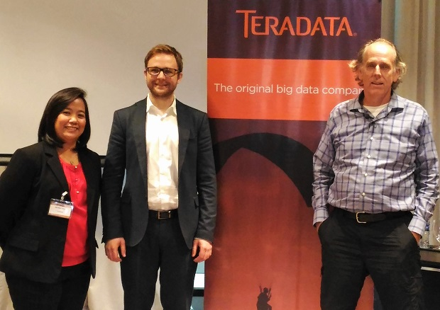 Photo shows (from left) Teradata Philippines country manager Ella Mae Ortega, Think Big principal data scientist and international practice lead Martin Oberhuber, and Teradata chief technology officer Stephen Brobst