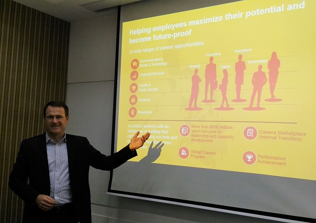 Jesper Madsen, Accenture human resources managing director for Asia Pacific (APAC) and the Philippines, discussing how their employees are being trained to become future-proof