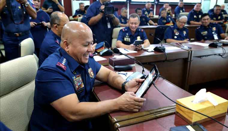 """PNP chief Ronald """"Bato"""" dela Rosa during the launch of 'Bato' mobile game app on August 8 at Camp Crame. (Photo credit: PNP-PIO)"""