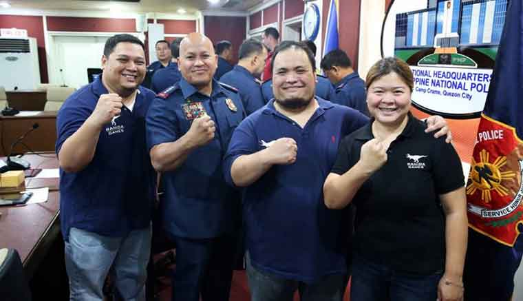 """PNP chief """"Bato"""" Dela Rosa with Ranida Games offcials during the launch of 'Bato' mobile game app on August 8 at Camp Crame. (Photo credit: PNP-PIO)"""