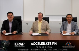 Shown during the signing of the memorandum of agreement are (seated L-R) Benedict Hernandez, chairman of the executive committee of IBPAP; Craig Reines, chief operating officer of Sitel Philippines; and Danilo Sebastian Reyes, board chairman of IBPAP