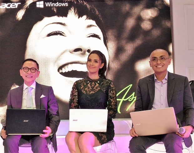 Photo shows (from left) inspirational speaker Francis Kong, 2013 Miss World Megan Young, Acer Philippines exec Cuki Pendor showing off the Acer Aspire ?S? Series notebooks