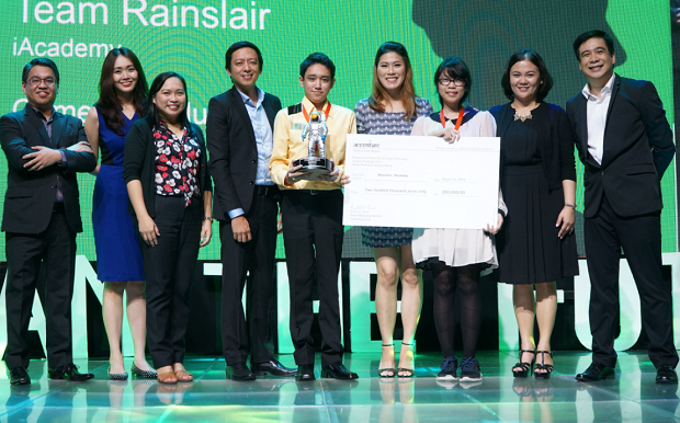 Photo shows Team Rainslair of Meris Soneja (3rd from right) and Gian Legaspi (5th from left) with Accenture execs (from left) Stephen Alba, Louise Sabariaga, Sheryl Quito, Carlo Castro Regina Lim Ambe Tierro, and JP Palpallatoc