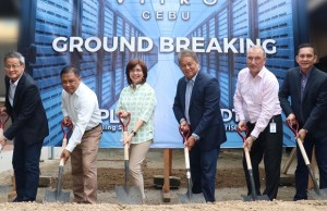 Present for the groundbreaking ceremony of the second Vitro data center in Cebu were (from left) PLDT VisMin Corporate Relationship Business head Jimmy Chua, ePLDT CTO Dave Simon, ePLDT Group COO Nerisse Ramos, PLDT/Smart EVP and ePLDT president and CEO Eric Alberto, PLDT executive advisor for fixed network Rudi Frey and PLDT head of corporate relationship management Dick Perez