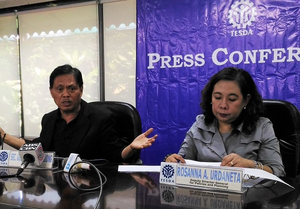 Tesda director-general Guiling Mamondiong (left) with deputy director-general Rosanna Urdaneta during the press briefing