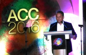 PLDT executive vice president Eric R. Alberto welcomes over 1,300 delegates from 60 countries at the opening of the 12th Asian Carriers Conference (ACC) 2016 at Shangri-La Mactan Hotel in Cebu