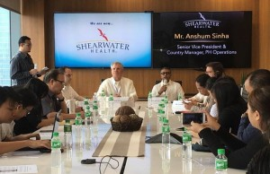 Officials of Shearwater Health holding a press briefing during the opening of its new site in BGC