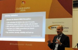 Shane Stubbs, Silver Peak vice president for cloud service provider sales, presents a case of his company's SD-WAN solutions for connectivity