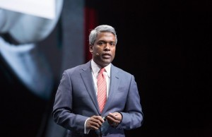 Thomas Kurian, president of Oracle product development, speaking during the recent Oracle OpenWorld in San Francisco