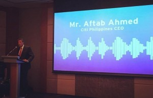 Citi Philippines CEO Aftad Ahmed speaking during the media launch in Makati City