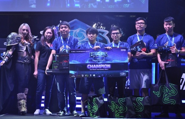 """The victorious """"Imperium Pro Team"""" from the Philippines who won won the Southeast Asia leg of the """"Heroes of the Storm: Fall Championship"""" at the Pantip eSports Arena in Bangkok, Thailand in September 2016"""
