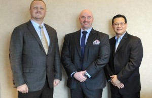 Akamai Technologies executives (from left) Matthew H. Sturgess, senior major account executive; John Ellis, chief strategist for cyber security in Asia Pacific and Japan; and Gerald Penaflor, Philippine country manager