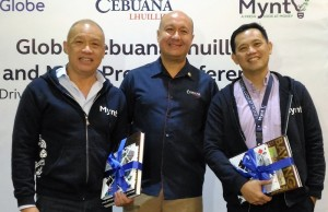 From left: Globe president and CEO Ernest Cu, PJ Lhuillier Group of Companies president and CEO Jean Henri Lhuillier, and G-Xchange president and CEO Albert O. Tinio