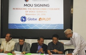 From left: Globe chief technology and information officer Gil Genio, DICT secretary Rodolfo Salalima, PLDT chief revenue officer Eric Alberto, NTC commissioner Gamaliel Cordoba, and DICT usec. Eliseo Rio