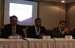 DICT sec. Rodolfo Salalima (right) speaks during the launch of the National Cybersecurity Plan 2022 at the Crowne Plaza in Pasig City. Beside him are Philip Victor of ISC2 and DICT assistant secretary and CICC executive director Allan Cabanlong