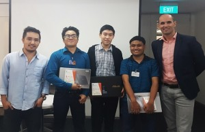From left: Anton Ramos, product marketing manager for Office 365 at Microsoft Philippines; Michael John Sayno Ramos, third place; Charles Emerson Ngo, first place; Vincent Hermogeno, second place; and Cian O`Neill, chief operating and chief marketing officer at Microsoft Philippines