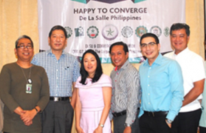 Photo shows Arturo Bermejo II (DLS Araneta), James Sy (DLSU Manila), Grace Uy (Converge ICT CFO), Garry Goyala (Converge ICT corporate sales head), Alan Smyth (Converge ICT corporate sales group head), and Jesus Romero (Converge ICT COO)