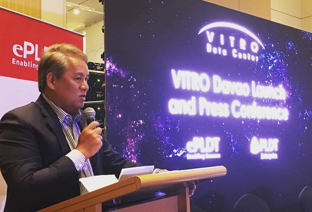PLDT chief revenue officer and ePLDT president Eric Alberto speaks during the formal launch of Vitro Davao at Marco Polo Hotel in Davao City