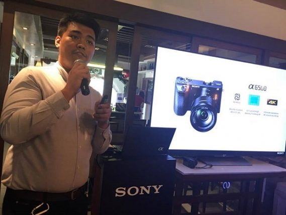 An executive of Sony Philippines introduces the new α6300 camera at a press event in Bonifacio Global City