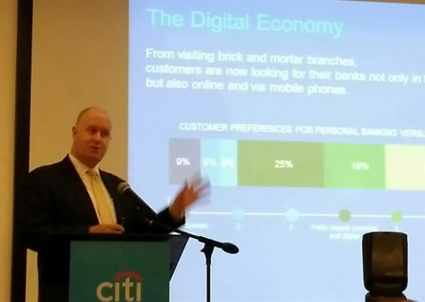 Citi PH director for credit payment products David Stoughton leads unveiling of the company's new digital programs last week in Makati City