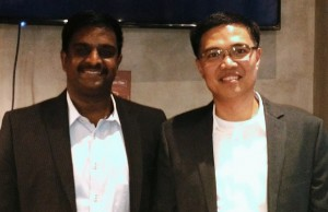Photo shows Manoj Pattabhiraman, architect for open-source solutions at IBM Asia Pacific (left), and Lope Doromal Jr., IBM Philippines chief technologist