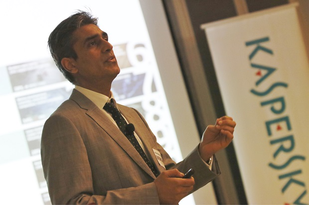 Vikram Kalkat of Kaspersky Lab Asia Pacific discusses the escalating cyberthreats against industrial and critical infrastructure in a recent media briefing at the Makati Diamond Residences, Makati City