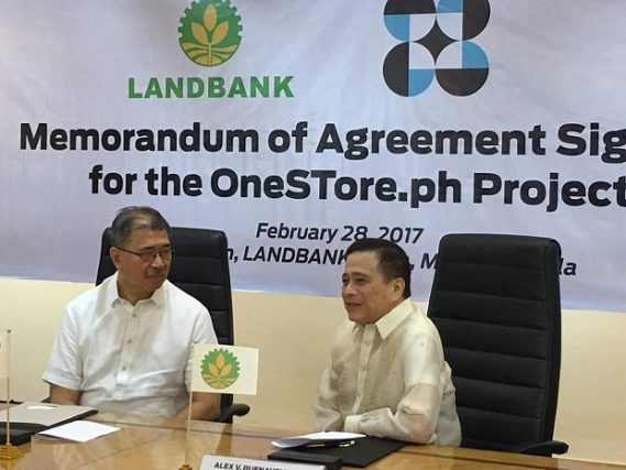 Photo shows Landbank CEO Alex Buenaventura (right) and DOST secretary Fortunato dela Pena during the MOA signing