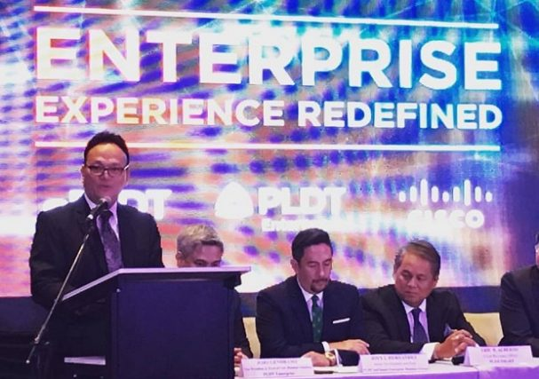 Photo shows Cisco PH country manager Enrique Rodriguez discusing the partnership in a press event at the Ascott Hotel in BGC