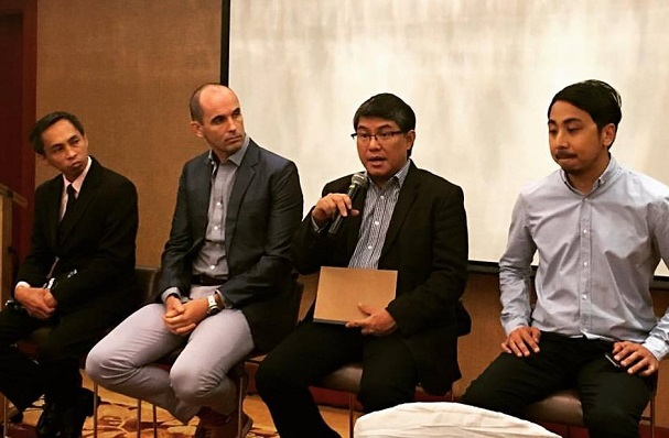 Photo shows (from left) Democracy.net.PH co-founder Pierre Galla, Microsoft PH chief operating officer Cian O'Neill, NPC deputy commissioner Dondi Mapa, and Microsoft PH Windows lead Paolo del Rosario
