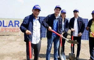 At the ceremonial groundbreaking of the 150-MW Tarlac solar farm, with the first 'Made in the Philippines' panels by Solar Philippines are (from left): Energy secretary Alfonso Cusi, Solar Philippines president Leandro Leviste, Tarlac governor Susan Yap and Concepcion mayor Andy Lacson. Photo credit: http://concepciontarlacph.com
