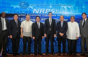 Photo shows (from left) USAID Philippines acting office director Stephen Andoseph, Malaya Rural Bank president Antonio Pasia, DTI secretary Ramon Lopez, BSP governor Amando Tetangco, Union Bank chairman Justo Ortiz, PayMaya Philippines president Orlando Vea, BSP deputy governor Nestor Espenilla Jr., and Wealth Development Bank president Gregorio Anonas III