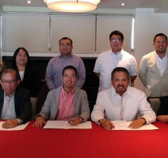Photo shows officials of DOST-PCIEERD and the Chamber of Mines of the Philippines (COMP) prior to signing their Memorandum of Agreement (MOA) at the Manila Golf and Country Club (MGCC) in Makati City. From left, seated, are: PCIEERD deputy executive director Raul Sabularse; executive director Dr. Carlos Primo David; COMP president Benjamin Philip Romualdez, and COMP executive vice president Nelia Halcon. Standing, from left: Ma. Lynn Talingdan, PCIEERD; Ninalisa H. Escorial, Atty. Lysander Castillo, PBEST secretary general;  Adrian Ramos, Atlas Consolidated Mining president and COMP board member; and Clarence Pimentel, CTP Construction CEO and COMP board member