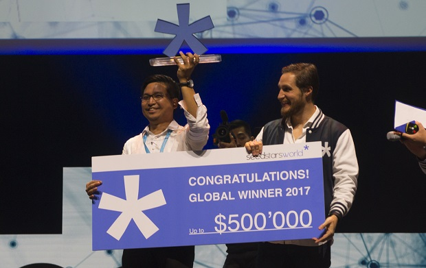 "Acudeen Technologies founder Mario Jordan ""Magellan"" Fetalino III (left) is proclaimed grand prize winner"