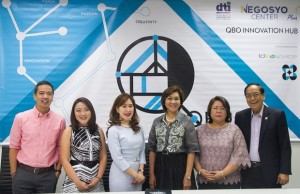 Photo shows (from left) DOST-PCIEERD executive director CP David, QBO executive director Katrina Chan, JP Morgan head of corporate communications Patricia Javier-Gutierrez, DTI usec. Nora Terrado, DOST usec. Rowena Cristina Guevara, and DTI export marketing bureau director Senen Perlada during the official launch of the 1st QBO Innovation Hub in Makati