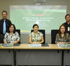 Photo shows (seated, from left) Nanette Malvar, business development manager of Lenovo Philippines; Lorelei de Viana, Dean, FEU Institute of Architecture and Fine Arts; Atty. Gianna Montinola, vice-president for corporate affairs, at FEU; Marianne Angeles, corporate account manager of Advance Microsystems Corporation; and Janine Librea, large enterprise representative for the commercial group of Lenovo Philippines; (standing, from left) Cesar Pacis, head of FEU IT Services; and Rosalino Ayson, Jr., manager for purchasing department at FEU