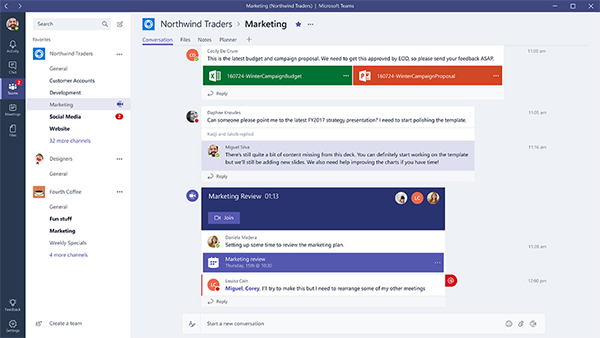 Microsoft Team's chat-based collaboration.