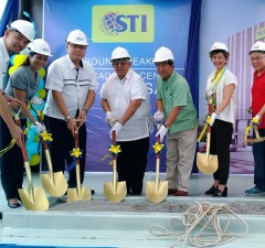 STI officials and guests perform the ceremonial shoveling on May 23 for the planned campus in Sta. Mesa, Manila. STI CEO Monico V. Jacob (4th from left) and STI chair Eusebio Tanco (right) lead the ceremony. Beside Tanco is Manila vice mayor Honey Lacuna-Pangan
