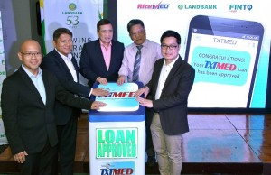 Photo shows (from left) RiteMed GM Vincent Patrick Guerrero, Landbank SVP Liduvino Geron, Landbank president and CEO Alex Buenaventura, Landbank EVP Julio Climaco Jr., and FinTQ managing director Lito Villanueva lead the press launch of TxTMed at the Landbank Plaza in Manila